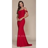Red Sequins Cold Shoulder Mermaid Long Formal Dress