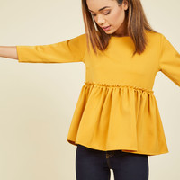 Peplum Perfection Top | Mod Retro Vintage Short Sleeve Shirts | ModCloth.com