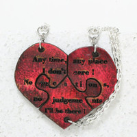 Friendship Quote Leather Heart Puzzle Necklaces set of 3 Any time any place Pink and Black