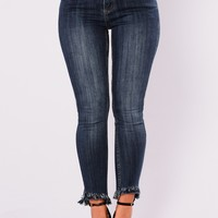 Issa Raw Hem Skinny Jeans - Dark Denim