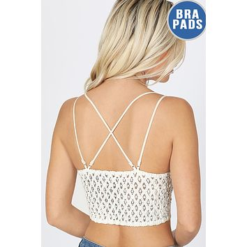 Sexy Crochet Lace Diamond Shape Smocked Back Padded Wireless Bralette Top