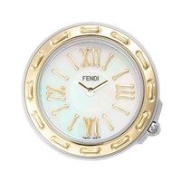 Women's Fendi 'Selleria' Mother-of-Pearl Dial Watch Case, 37mm - Gold/ Silver/ White
