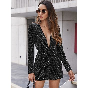 SHEIN Plunging Neck Plaid Velvet Romper