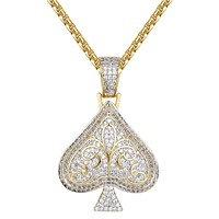 14k Gold Finish Poker Spade Silver Iced Out Pendant