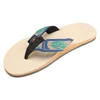 Men's Natural Hemp Top Single Layer Arch Sandal with Green Fish Strap by Rainbow Sandals