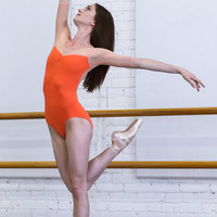 Custom Half Sleeve Leotard with pinch front and mesh back - Marie style