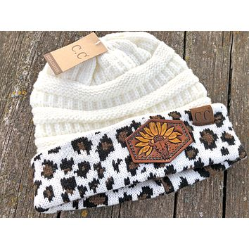 Leopard Print White Beanie Hat Sunflower and Cow Skull Tooled Leather Patch Hat