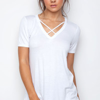 Mira Cross Over Top - White