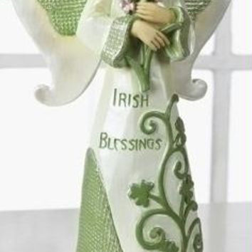 """ Irish Blessings ""  Angel - Angel Is Posed Holding Pink Flowers And Features Shamrock Accents"