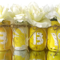 BABY, set of four, Hand Painted Mason Jars | Rustic, Home Decor -- Yellow and White Painted Jars