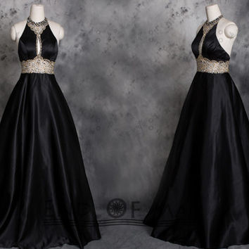 High Neck Black Stain Beading Long Prom Dresses,Black prom dresses,black prom dress,prom dresses,prom dress,bridesmaid dresses,evening dress