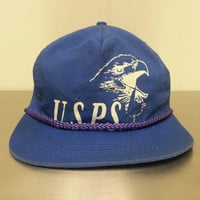 Vintage USPS Mail Blue Snapback Promotional Dad Hat Proudly Made In USA Retro Logo Corded