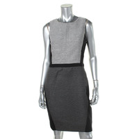 DKNYC Womens Textured Colorblock Wear to Work Dress