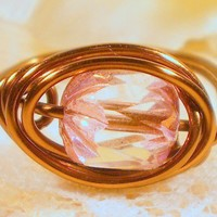 Crystal Copper Vintage Style Wire Wrapped Ring by ZurDesigns
