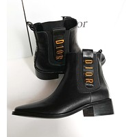 Dior autumn and winter new boots imported Italian leather ladies fashion all-match high-top boots