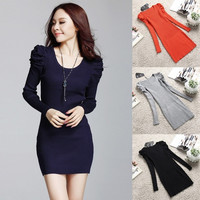 Chic Casual Sweater Jumper Long Tops Mini Dress Pullover Women Crew Neck Knitted F_F = 1902525892