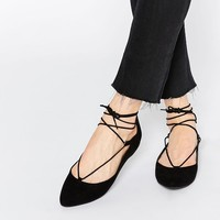 New Look | New Look Lace Up Ballet Flat Shoe at ASOS