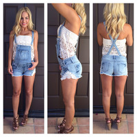 Denim with Lace Overalls