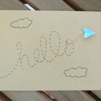 hello card, paper airplane card, cute card, any occasion card, friend card, blank card, thinking of you card, plane card, hi card
