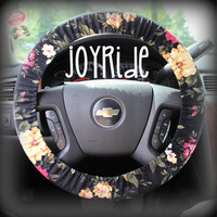 Steering Wheel Cover Black Floral