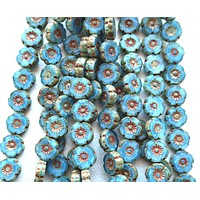 25 8mm Czech glass flower beads, light marbled blue with brick red picasso accents, table cut, carved Hawaiian flower beads C20201