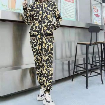 """VERASE"" Woman Leisure Fashion Personality Printing Zipper Spell Color  Long Sleeve Trousers Two-Piece Set Casual Wear"