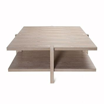 Medford Cerused Oak Coffee Table by Worlds Away