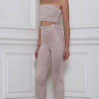 Rhythm and Suede Pants- Taupe