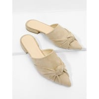Apricot Pointed Toe Knot Suede Casual Mules