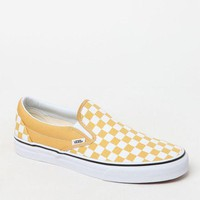 LMFONDI5 Vans Classic Checkerboard Gold and White Slip-On Shoes