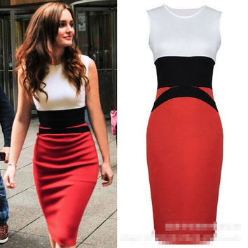 Wind European and American fashion sexy women splicing OL without package hip sleeveless dress pencil dress