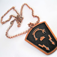 Solid Copper Necklace Pendant, Native American Design,   Bell Trading Post Necklace