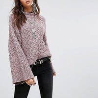 Free People Snow Bird Fluted Sleeve Sweater at asos.com