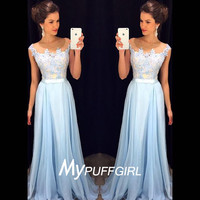 Light Blue Prom Dress With Lace Appliques Bodice , Chiffon Illusion Cap Sleeves Formal Gown