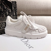 DIOR CD letter shell head white shoes women's thick-soled old shoes sneakers Shoes