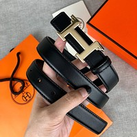 Hermes hot sale smooth buckle men's and women's simple and versatile fashion belts