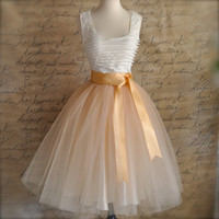 Classic Champagne Beige Tulle Skirt with Chocolate Caramel or Pale Gold Satin Waist. Elegant neutral skirt. TutusChic original since 2009.