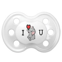 Baby Elephant with Heart Pacifier