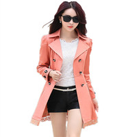 2016 New Women Spring Trench Coat With Belt Mid Long Fashion Double Breasted Lace Patchwork Coats Loose Outerwear Plus Size 028