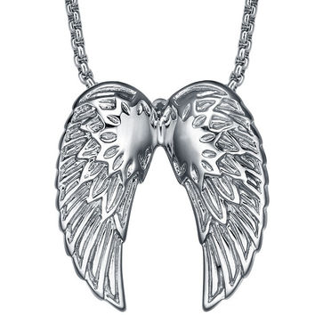 Stainless Steel Silvery Angel Wing Pendant Necklace