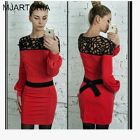 2016 New Sexy Women Lace Dress Fashion Elegant Winter Autumn Dresses Puff Sleeve Slit Women Lady Bowknot Dresses Clothing 1PC