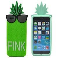 "SamWay Green Apple iPhone 6 Plus 5.5""(Not iPhone 6 4.7"" Normal) 3D Pineapple Cse,3D Fruit Design Victoria Secret PINK Pineapple 3D Cute Pineapple with Black Glasses Design Skin Silicone Case Cover for Iphone 6 Plus 5.5""+Free Black SamWay Stylus"