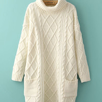 Diamond Pattern Double Pocket Knitted Sweater