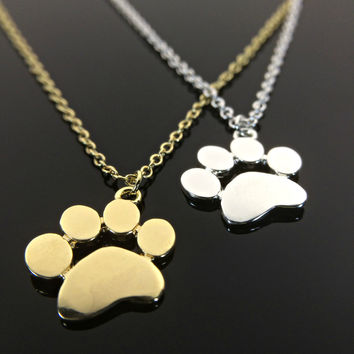 Paw Print Necklace Sterling Silver Gold Cat and Dog Paws Animal Jewelry Pet