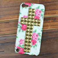Bronze Stud And Rose Hard Case Cover for Apple Ipod Touch 5, iPod Touch 5th,iTouch 5,iPod Touch 5