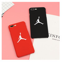Fashion Brand Jordan NBA Case Red Black Matte Plastic Hard Phone Case Cover Coque Fundas Capa for iphone7 6 6s 6 plus 5 5S SE -0316