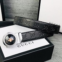 Wearwinds GUCCI Fashion new more letter leather couple leisure belt Black