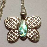 """Abalone Butterfly Sterling Necklace 925 Silver 16"""" Butterflies Vintage Jewelry Southwestern Birthday Christmas Holiday Xmas Boho Insect Gift"""