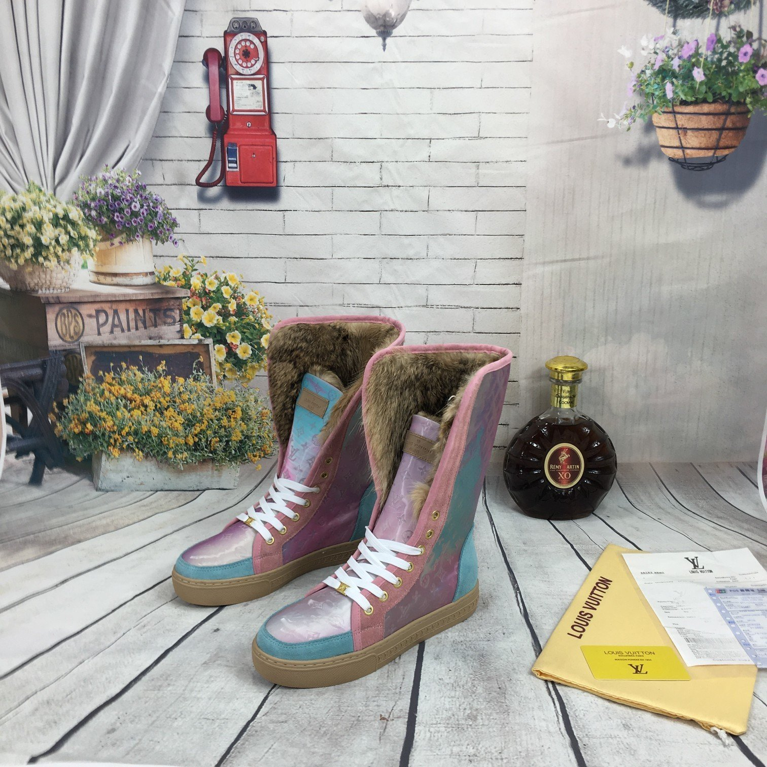 Image of lv louis vuitton trending womens men leather side zip lace up ankle boots shoes high boots 168