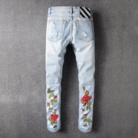 F.N.JACK Men Jeans Skinny Trousers Slim Fit Denim Designer Zipper Brand 2018 Price Embroidered Rose Ripped Hole Stretch Ligth